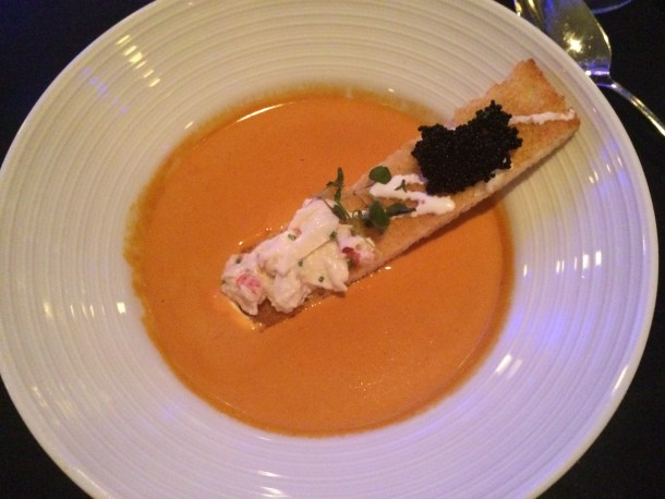 Lobster Bisque Soup with Lobster crostini, caviar, and crème fraîche