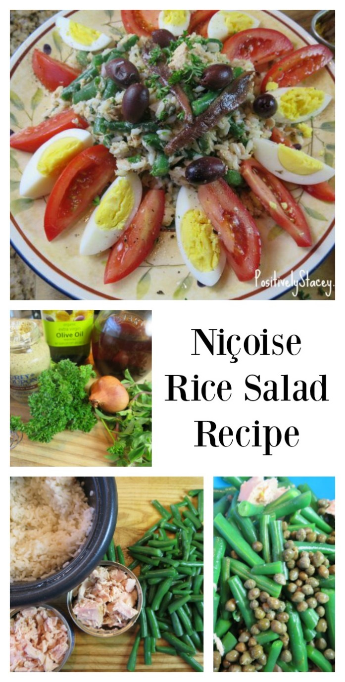 Unlike a typical green salad, this Niçoise Salad is made with rice instead. A nice way to change it up, and the rice holds the flavor so well!