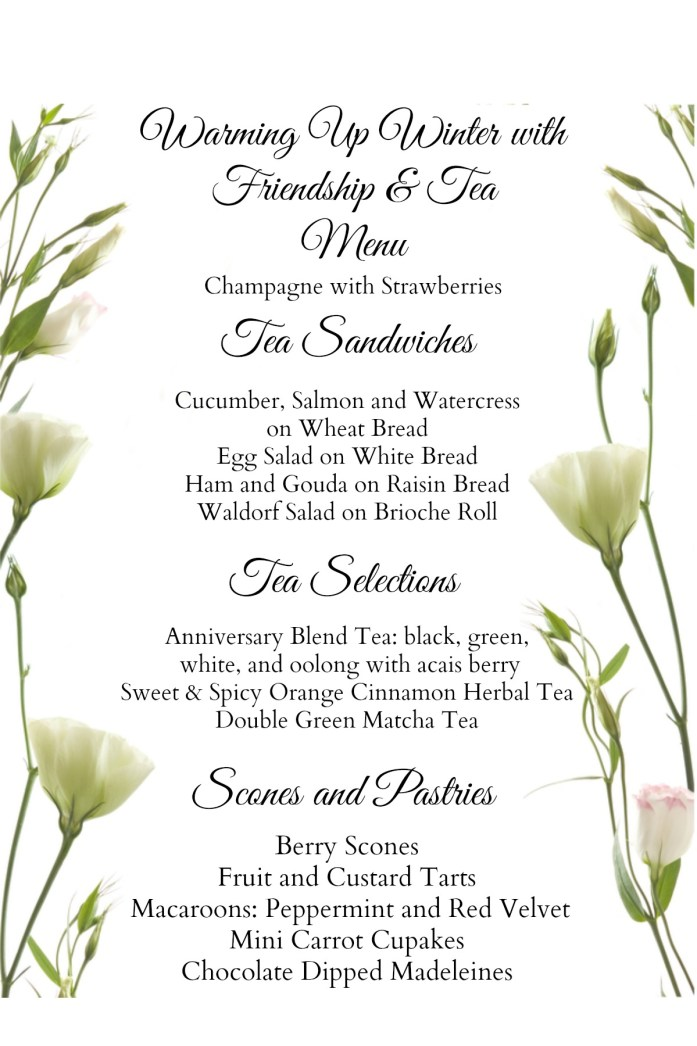 Winter Tea Menu
