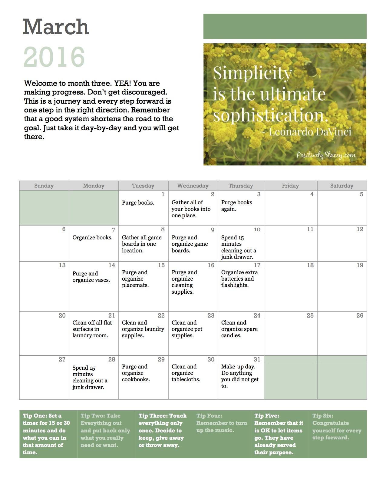 Getting Organized! Home Organization Plan March Calendar