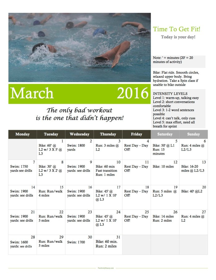March Beginning Triathlon Training Workout Calendar