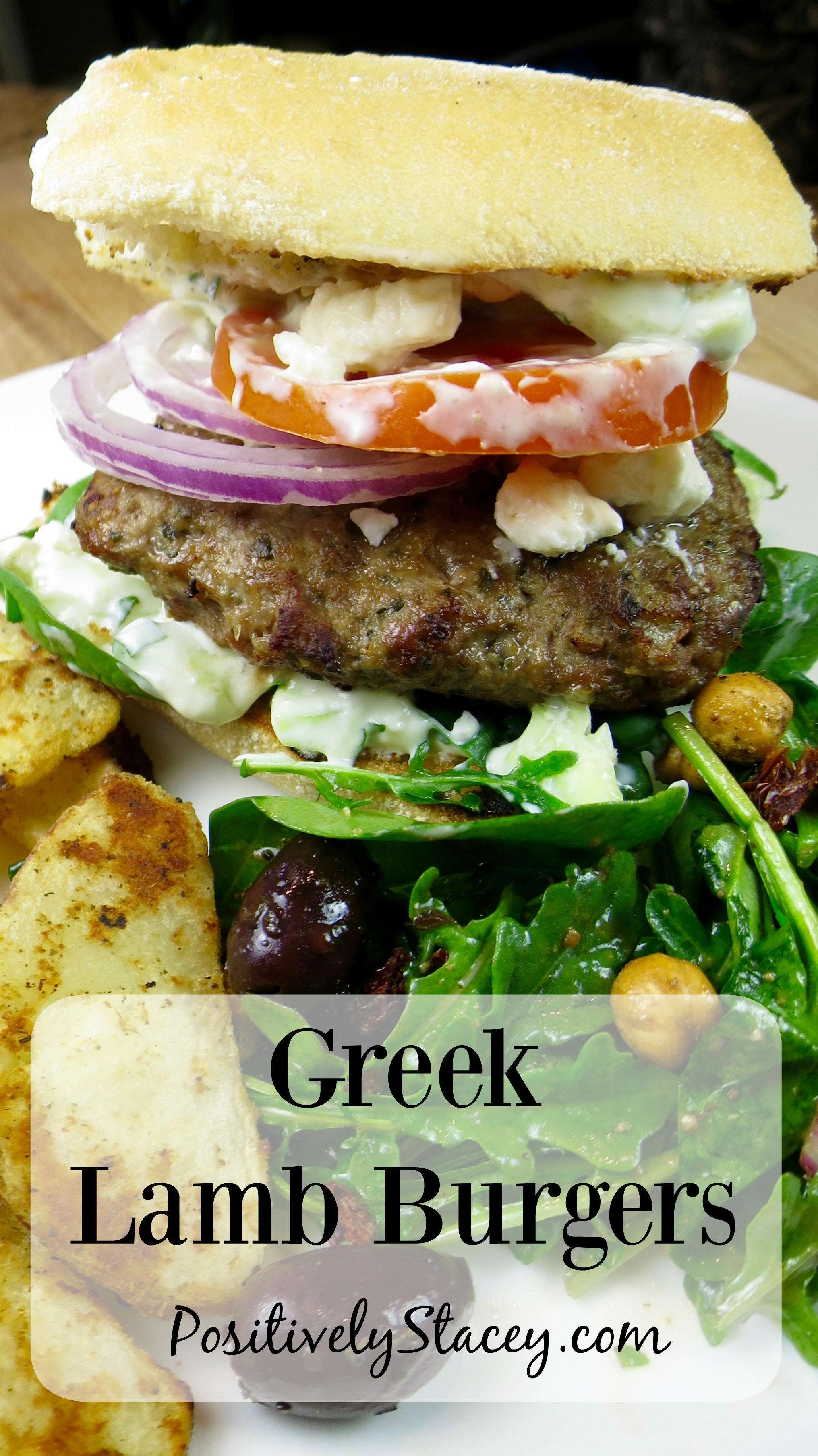 This recipe is full of flavor! The lamb is mixed with mint, onion, and loads of Mediterranean goodness. Greek Lamb Burger Recipe - Delicious!