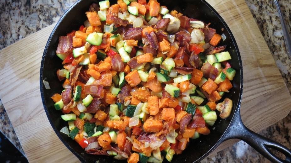 Sweet Potato, Bacon, and Egg Skillet