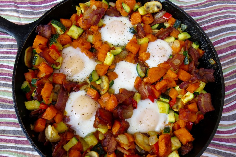 Sweet Potato, Bacon, and Egg Skillet Recipe