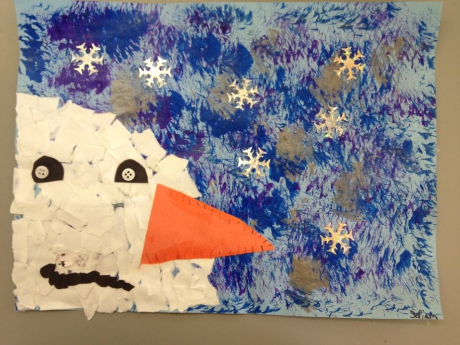 A mixed media snowman collage I made with my first grade art students.