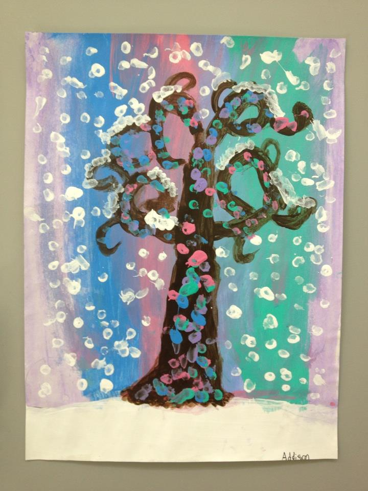 Third grade Winter trees inspired by Gustavo Klimt's Tree of Life.