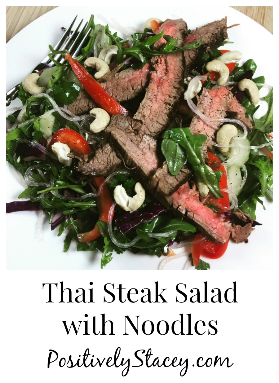 The flavors of this Thai Steak Salad with Noodles are a wonderful mix of tangy, sweet, spicy, creamy, and crunchy! Yes, a little bit of everything.