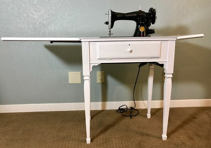 White Sewing Machine Cabinet
