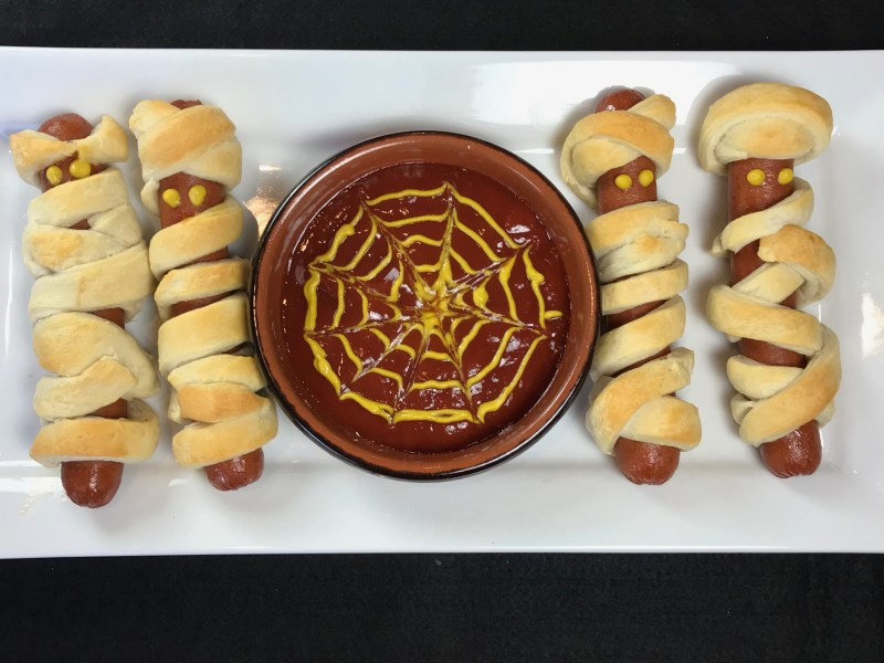 Mummy Wrapped Hot Dogs and Witch's Brew Pea Soup