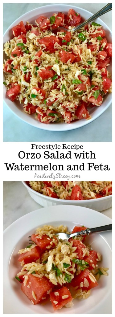 This orzo salad with watermelon and feta is downright delicious! The flavors meld together perfectly - juicy watermelon, tangy feta, and creamy orzo. Plus it is only 5 Weight Watchers Freestyle points per serving! Yum!