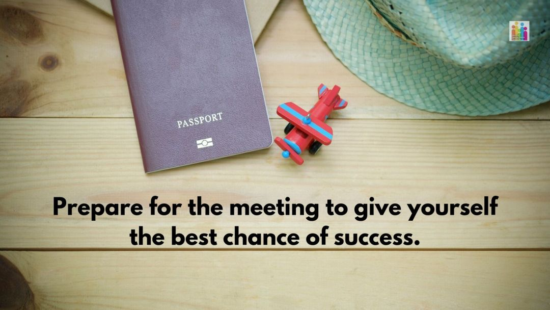 """Image of a passport, toy plane and sun hat on a table with the words """"prepare for the meeting to give yourself the best chance of success."""""""