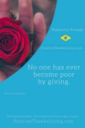 no one has ever become poor by giving -
