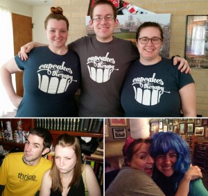 friends in cupcakes tees, family as friends, friends in wigs