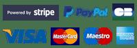 Stripe - Paypal - Visa - MasterCard - Maestro - American Express