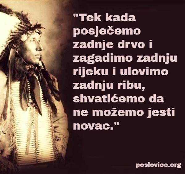 mudrost indijanac posječemo zadnje drvo - jesti novac