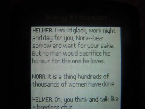 Excerpt from Henrik's Ibsen The Dollhouse as seen on my tiny screen of a phone :(