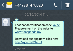 Screenshot of SMS. Text reads: Foodpanda verification code: 4272. Please enter it on the website. www.foodpanda.my. Download our app now, click here [URL]