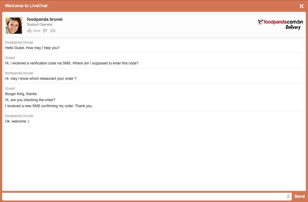 foodpanda - website - online chat