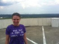 Me in front of the Atlanta skyline. I'm standing on the top of the Overlook building parking deck.