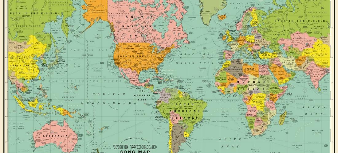 O mapa mundi identificado com canções