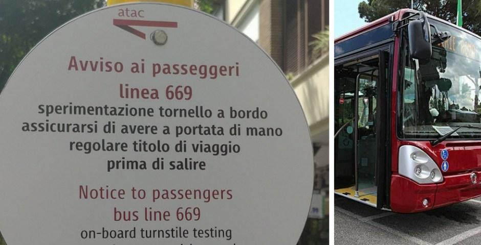 catracas nos ônibus de Roma, Itália