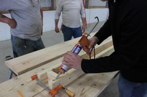 Post Rack adhesive shelf construction