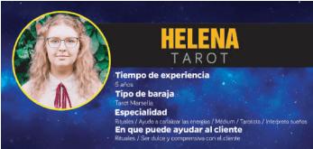 Helena es una tarotista reconocida en Puerto Rico que practica mucho el tarot del sí o no, telefónico