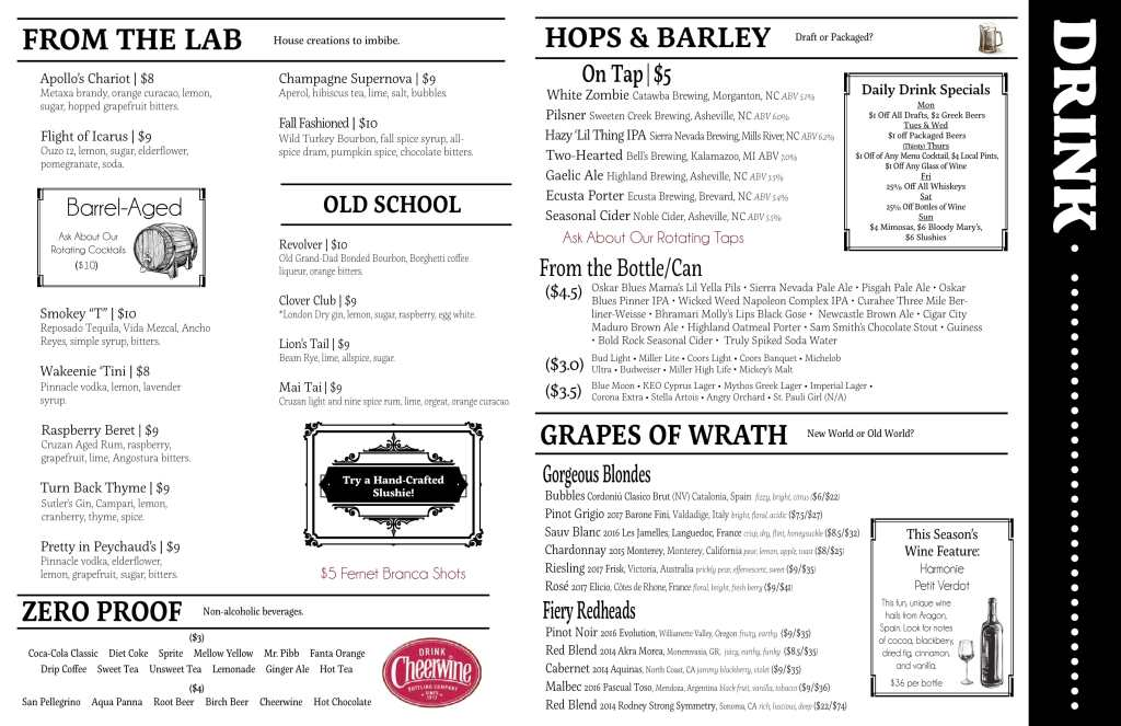 Post 25 Drinks Menu May 2018