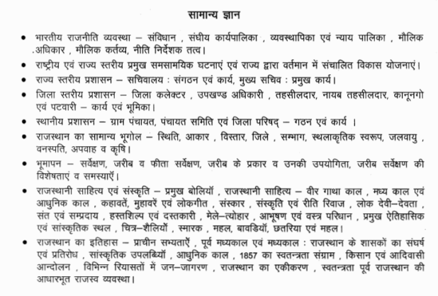 BOR Rajasthan Patwari Bharti General Studies Topic Syllabus 2015