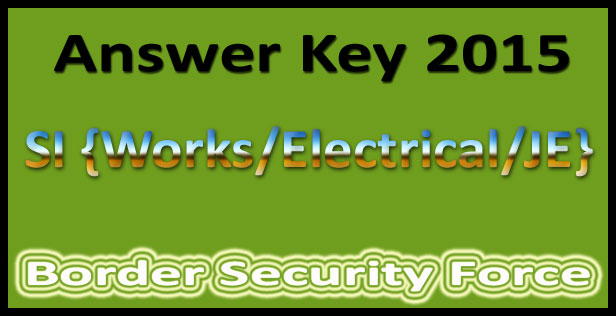 BSF SI answer key 2015