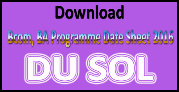 DU SOL date sheet 2017