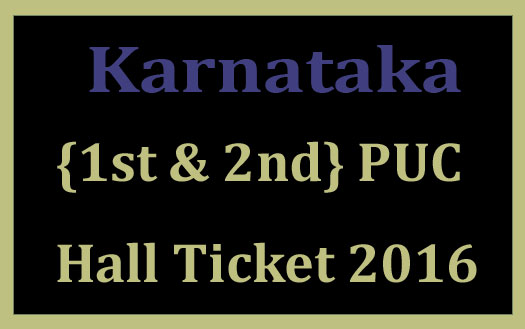 Karnataka 2nd PUC hall ticket 2016