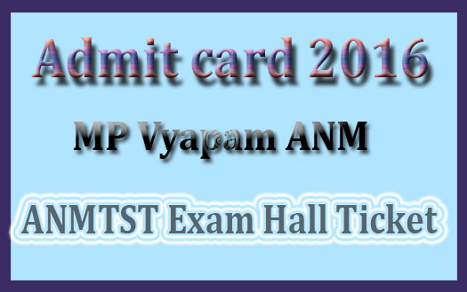 MP Vyapam ANM admit card 2016