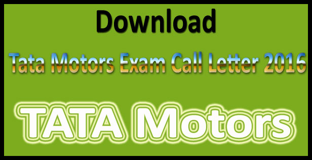 TATA motors admit card 2016