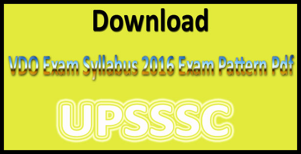 UP VDO syllabus 2016