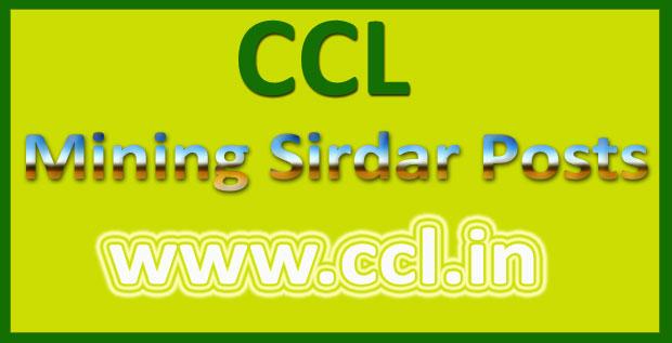 CCL mining Sirdar admit card 2016