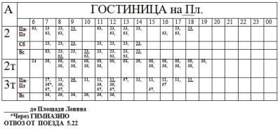 Маршрут: ПЛОЩАДЬ – БОЛЬНИЦА (Автобусы 2, 2т)