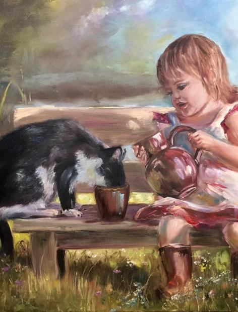 Девочка и кот, 50х70
