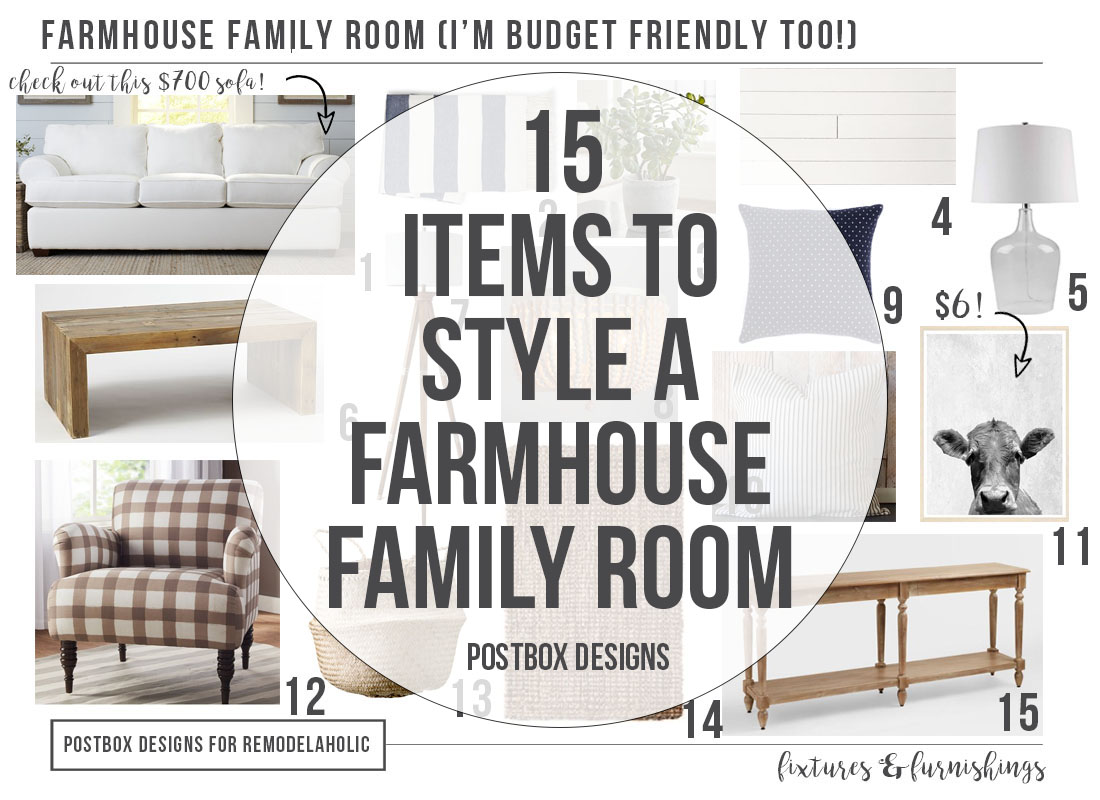 15 Items To Style A Farmhouse Family Room On A Budget Postbox Designs