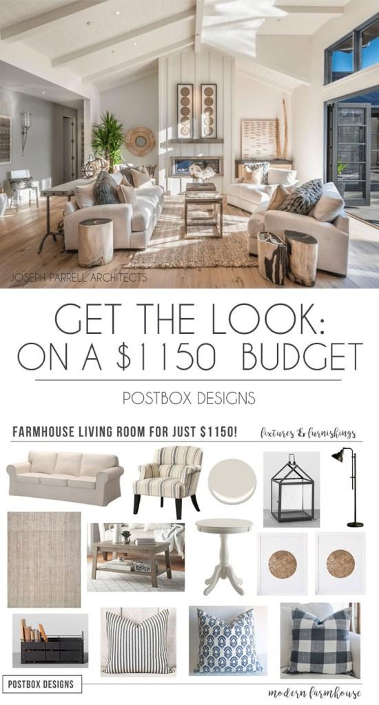 50 Beautiful Modern Farmhouse Living Room Decor Ideas: $1200 Modern Farmhouse Living Room + Free Mood Board