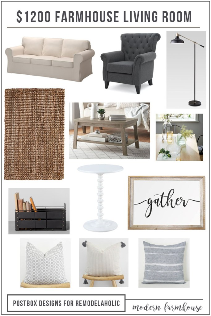 Design Your Own Living Room Free: $1200 Modern Farmhouse Living Room + Free Mood Board
