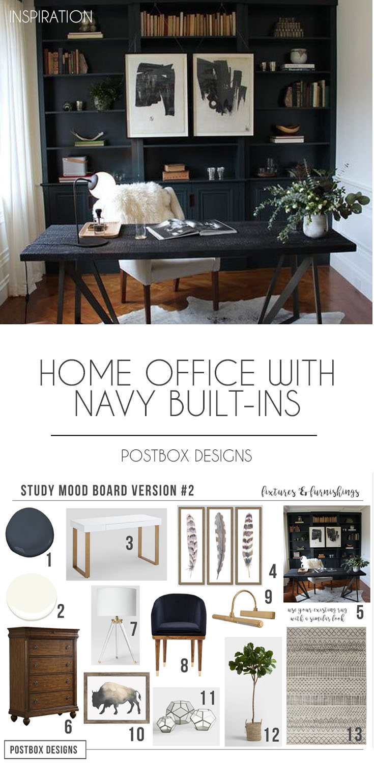 Postbox Designs Interior E Design: Home Office Design With Navy Shelves,  Study Decor