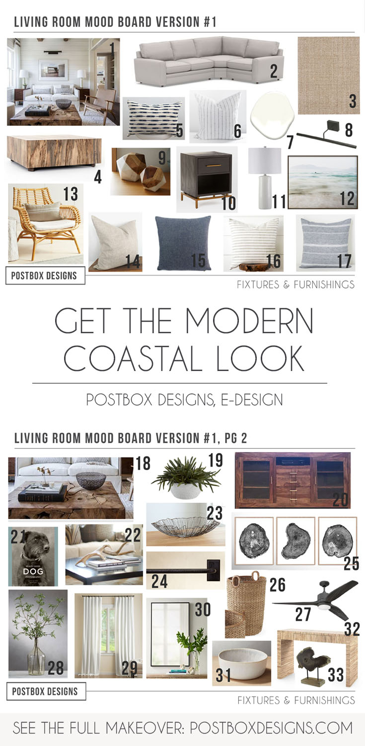 Modern Coastal Living Room Makeover by Postbox Designs, Interior E-Design,  Neutral Living