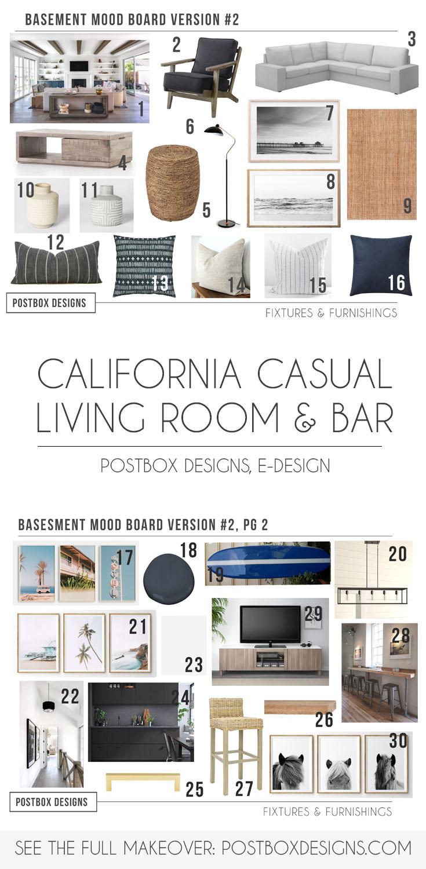 Online Room Remodel Design: California Casual Living Room Design + Basement Makeover