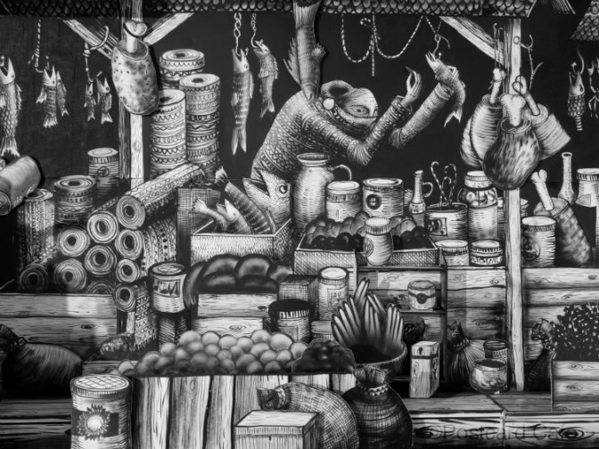 5. Market Traders by Phlegm. Castle House, Sheffield - September 2014