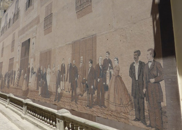 Mural of the most important calle mercaderes