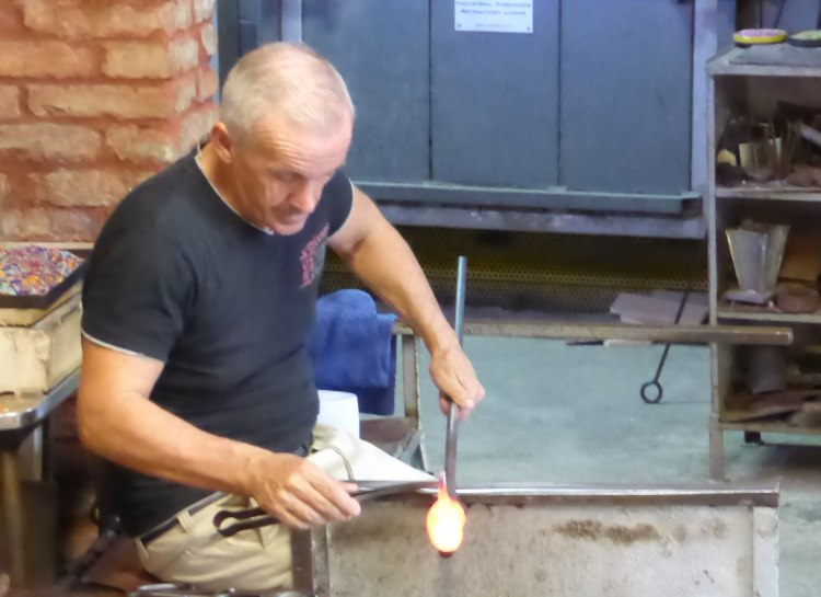 Glass blowing demonstration - making a glass fish