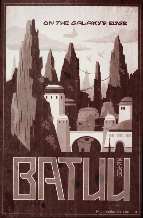 Batuu is home of those who prefer to stay hidden. Located on the galaxy's edge, Batuu was once a busy crossroads in the days prior to lightspeed. With the rise of hyperspace travel, however, the world -- notable for the lush trees and mountains spikes that decorate its surface -- was left behind, its prominence lost to planets on more popular trade routes