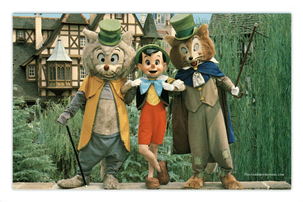 """Pinocchio relaxes with his two """"friends"""" Foulfellow and Gideon in Fantasyland. This is the happiest land of them all, where guests meet dozens of famous characters """"come to life"""" from Disney animated film classics."""