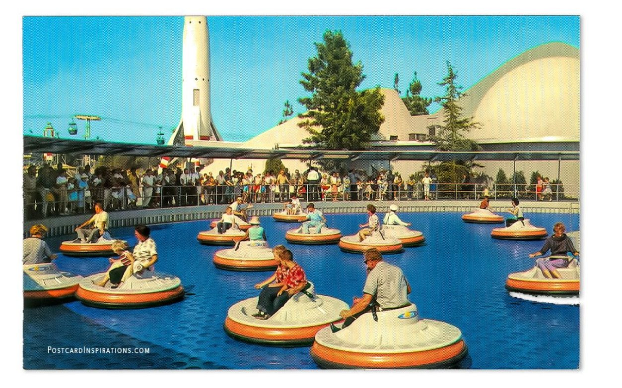 "Flying Saucers – fact or fancy, ""Flying Saucers"" have a place in Disneyland's Tomorrowland, where a guest may pilot his own ship in free flight, above the ground."